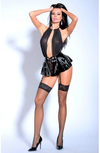 Vestido Montse con portaligas, simil cuero, incluye tanga y medias.